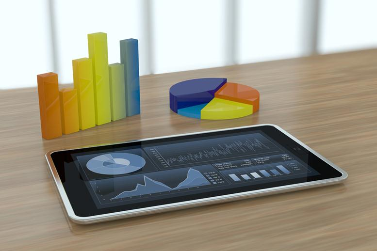 one tablet pc with stock market app and financial charts (3d